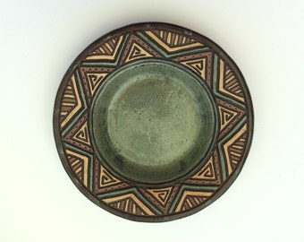 Handmade and Hand Carved Aztec Pottery Bowl - Sage Green - Triangles Chevron - Salad - Candle Holder -