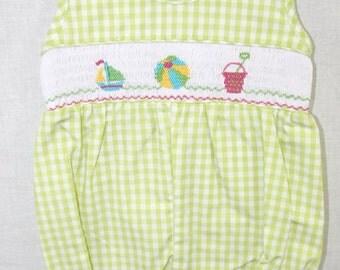 412064 -A058- Baby Girl Bubble - Baby Girl Romper - Baby Girl Clothes - Baby Bubble Suit - Smocked romper - Smocked  bubble - Beach Portrait