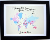 Best Friend Custom Art Print: Friend Gift Foreign Exchange Student Goodbye Gift Best Friends Forever Gifts Moving Going Away BFF Present