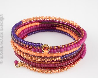 Seed bead bracelet, Oriental style jewelry, Wrist wrap bracelet, Memory wire bracelet, Beaded bracelet, 1001 nights, Hippy style jewellery