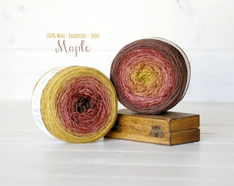 2 Hand Dyed YarnBalls - 100% Wool - Color: Maple Ombre - 1Ply Sport Yarn - Colorful Soft Yarns by Freia - 2 Balls - Wool Yarns Paint by Hand