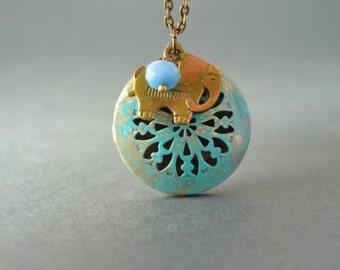 Elephant locket necklace with birthstone, vintage patina Elephant necklace, elephant jewelry, tribal locket necklace