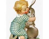 Bunny Rabbit Fabric Block - Toddler Hugs Hare - Repro Torre Bevans