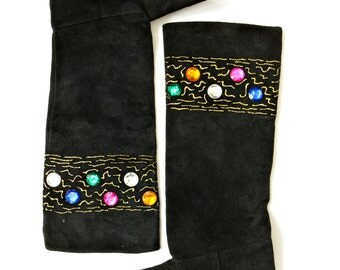 SALE | 80s Vintage Suede Embellished Slouchy Boots | Size AU 7