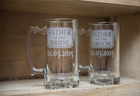 Father of the Bride and Father of the Groom Etched Beer Mugs Set of Two