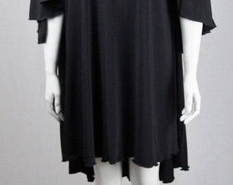 Baylis & Knight Black CAPE BACK Overlay Knee SWING Knee Dress Elegant Loose 70's Chic Studio 54 Disco Queen Relaxed