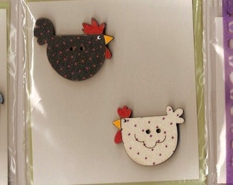 Hand Painted WOODEN CHICKEN BUTTONS - 3 Different Design Sets - will make any garment look special! Can also use as Badges