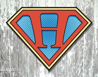 """Superhero Initial """"H"""" Sign Large 26""""X20"""" DIY Printable Instant Download"""