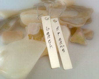 "Metal Stamped Silver Dangle Earrings, Handmade, ""Beach Dreams"""