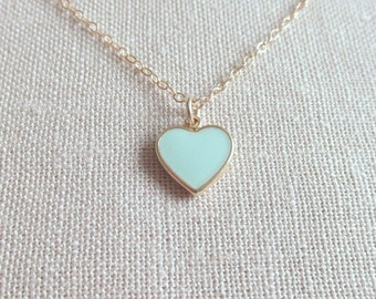 Tiny Mint Green Heart Necklace, Tiny Cute Dainty Modern Jewelry, Choose Gold Plate or 14k Gold Fill Chain