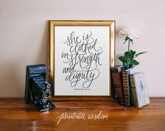 Proverbs 31:25 Bible Verse Printable Wisdom wall art, Bible verse print, calligraphy print, hand lettered printable scripture print