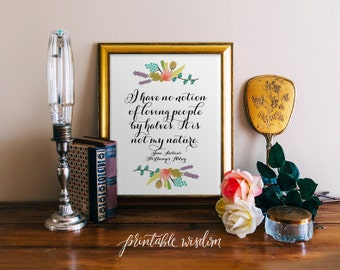 Jane Austen Quote Print, Printable art wall decor INSTANT DOWNLOAD, inspirational literature quotes poster - Northanger Abbey - digital