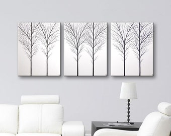 "3 Piece Wall Art Painting Canvas Art Tree Wall Decor Tree Paintings Black and White Art Trees Home Decor Ideas 48""x20"" Large Painting"