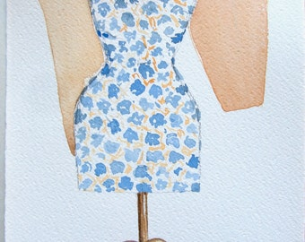 Watercolor painting original. Dressmakers atelier illustration. Small watercolors 7,5 by 11'' Home decor.