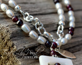 Garnet and Pearl Necklace - Square Pendant Necklace
