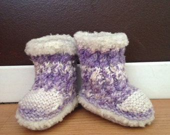 Purple and White Newborn Hand Knit Fuzzy Baby Booties