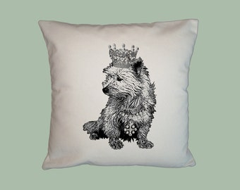 Royal West Highland Terrier with Crown Tiara Handmade 16x16 Pillow Cover -choice of fabric- image in ANY COLOR,