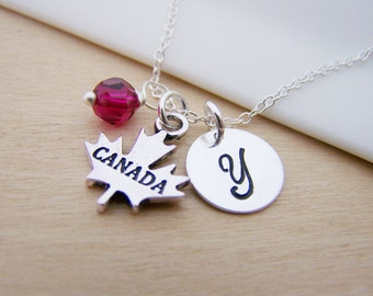 Canada Maple Leaf Charm Necklace Swarovski Birthstone Initial Sterling Silver Necklace / Gift for Her - Personalized Jewelry