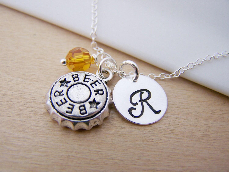 Beer bottle cap charm swarovski birthstone initial for Beer cap jewelry