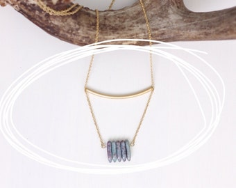 Rod + Rock Necklace with Stone Spikes