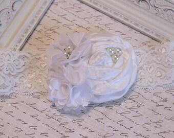 All White Headband, Baptism Headband, Baby Blessing Headband, Baby Headband, White Headband, Photography Prop
