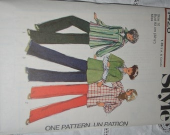 Vintage 70s Style 1428  Misses Top and Trousers Sewing Pattern - UNCUT - Size 10 or Size 16