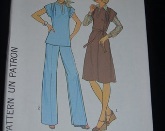 70s Simplicity 7601 / 7602  Misses Pullover  Dress Jumper or Top and Pants Sewing Pattern -UNCUT Size 12  or Size 14 or Size 40 or Size 42