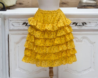 Vintage 1980's Yellow Ruffle Polka Dot Skirt