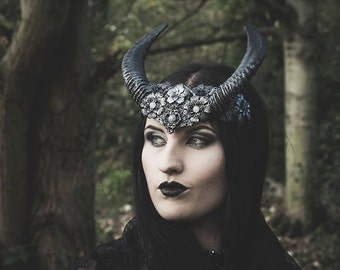 Elegant Black Horned headdress