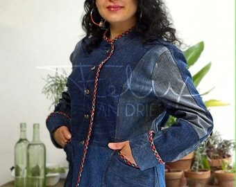 five button blue denim womens' jacket trimmed in red plaid bias binding with turn back cuffs, size 12