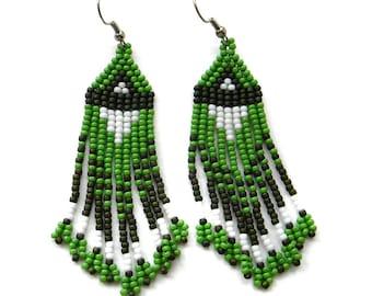 Green beaded earrings, green seed bead earrings, beadwork jewelry, dangle fringe earrings