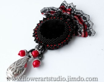 Black velvet beaded brooch, Beadwork, Bead embroidery, Red and black brooch, Medal, Bow brooch.