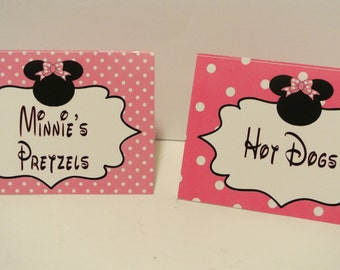 Minnie Mouse Theme Food Tent Cards  - set of 12