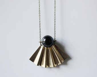 black onyx necklace gold black onyx pendant,Geometric necklace,modern minimal jewelry,fan necklace,art deco necklace,long statement necklace