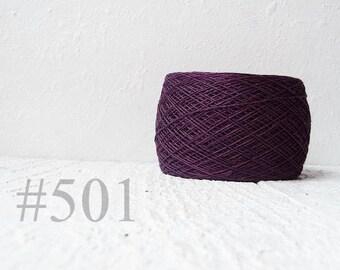 Linen crochet knitting weaving thread  - Plum color # 501