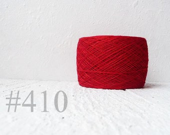 Ball of natural  red Linen - christmas red #410