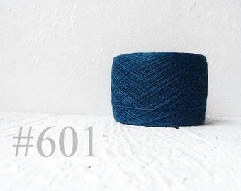 Dark turquoise linen crochet thread, linen yarn # 601