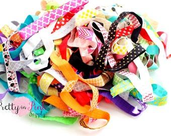 "Print Elastic Grab Bag- Fold Over Elastic- FOE- You Choose Yards- Print Elastic- Elastic by the Yard- Fold Over Elastic- DIY- Headbands 5/8"""