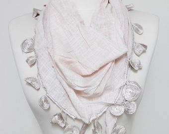 Linen Pinkish Lace scarf, Embroidery scarf, Pom Pom Scarf, trim shawl, Guipure Scarf spring - summer - fall fashion