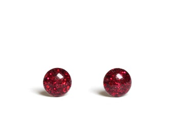 Red stud earrings 4mm - Teeny tiny studs in Ruby red with chunky red glitter Stud earrings from hypoallergenic stainless steel 0.16 inch