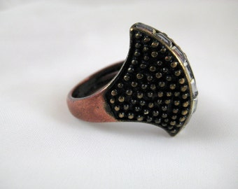 "Copper Japanned Brass and Rhinestone ""Axe"" Ring Modernist Statement Vintage Size 9.5"