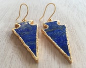 Arrowhead Earrings,Arrow Jewelry,Lapis Arrowhead Earrings,Lapis Earrings,Native American Jewelry,Tribal EArrings,Blue and Gold,Deep Blue