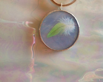 Take Flight Light Blue Iridescent Round Art Glass Pendant