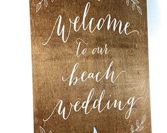 Rustic Beach Wedding Welcome Sign | Wedding Welcome Sign | Wooden Welcome Sign | Beach Welcome Sign | Wedding Beach Signs - WS-147