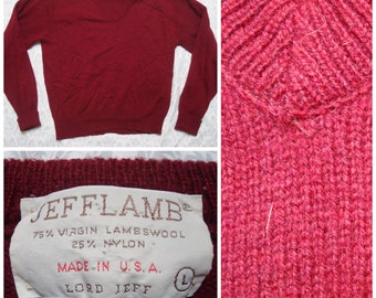 Vintage Retro Men's Jeff Lamb Made in the USA Wool Maroon Vneck Knit Sweater Cotton Large