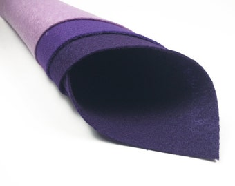 3 Purple Felt Sheets - 1 of each color in stock Lilac Orchid Purple - Eco Fi Craft Felt Sheets - Supplies