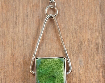 36 inch silver and green ceramic necklace on a hammered silver triangle - Shape Necklace