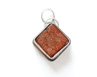 SALE - Small square ceramic pendant with flecked copper glaze