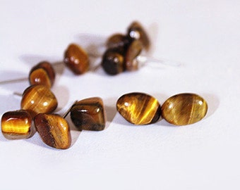 Yellow Brown Tiger Eye Stone Stud Earring Tiger Stripe Golden Rustic Stone Post Earring Hippie Golden Eye Primitive Raw Stone Stud Earring