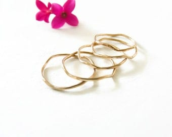 Gold Filled Stackable Rings//Thin Hammered Rings//Handmade Jewelry For Her//Under 30